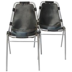 Pair of Black Leather Les Arcs Chairs by Charlotte Perriand