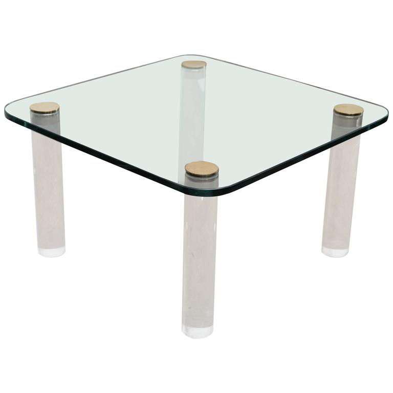 Mid Century Modern Pace Glass Brass And Lucite Occasional Table For