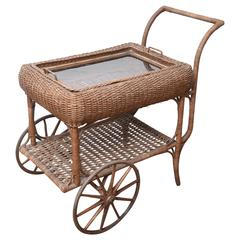 Antique All Original Wicker Bar Cart, with Removable Tray for Service