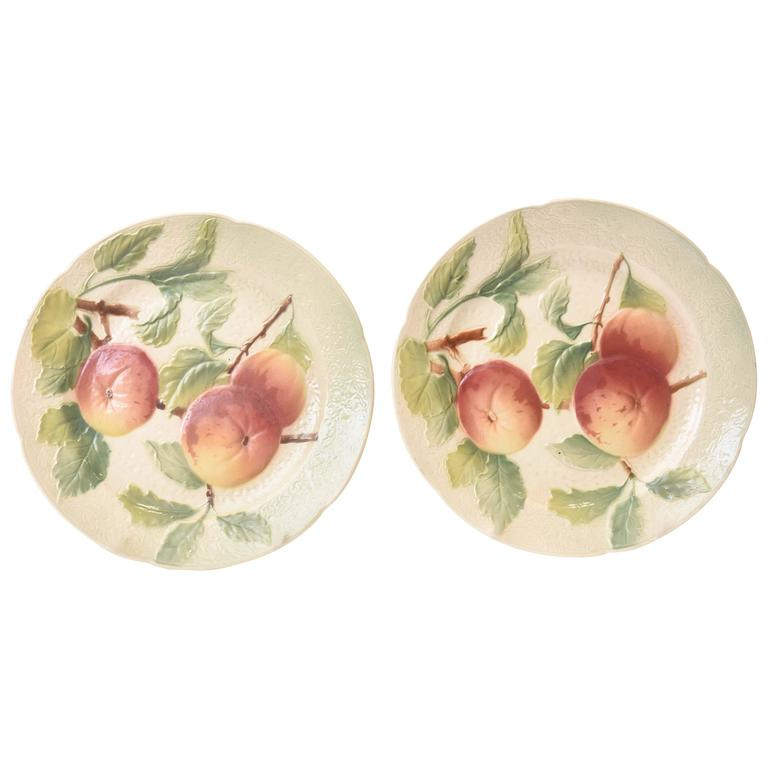 Pair of Antique French Majolica Fruit Plates For Sale  sc 1 st  1stDibs : antique french plates - Pezcame.Com