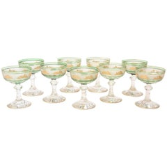 Nine Val Saint Lambert Green and Gilded Cameo Figure Champagne Coupes