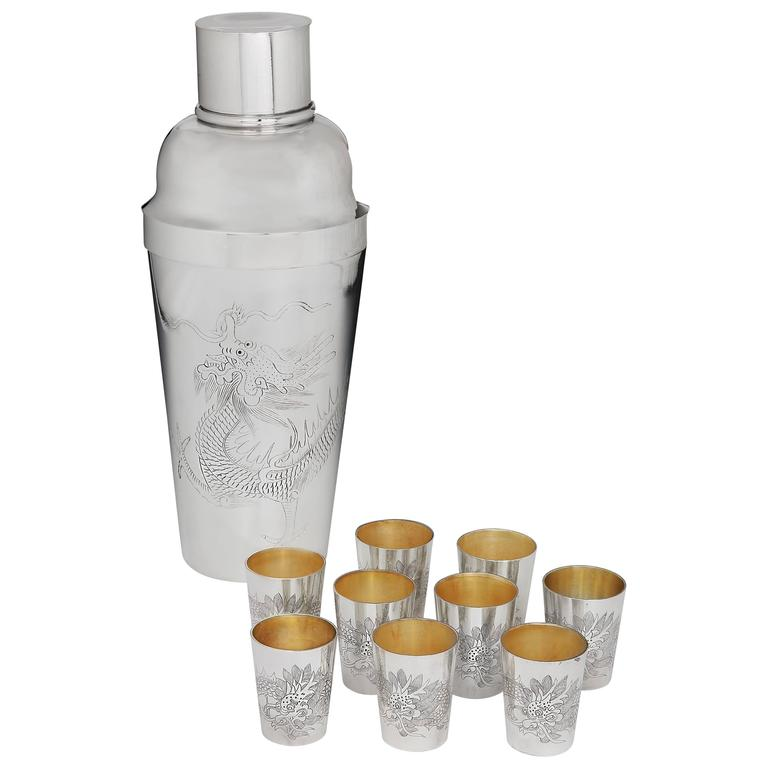 Oversize Cocktail Shaker Set by Kut Hing, 1920s For Sale