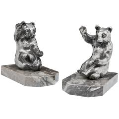 'Bear Cub' Bookends by Leveque, 1930s