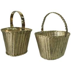 Pair of Polished Brass Orchid Baskets