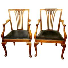 Pair of Antique English Hand-Carved Chestnut and Elm Geo. I Style Armchairs