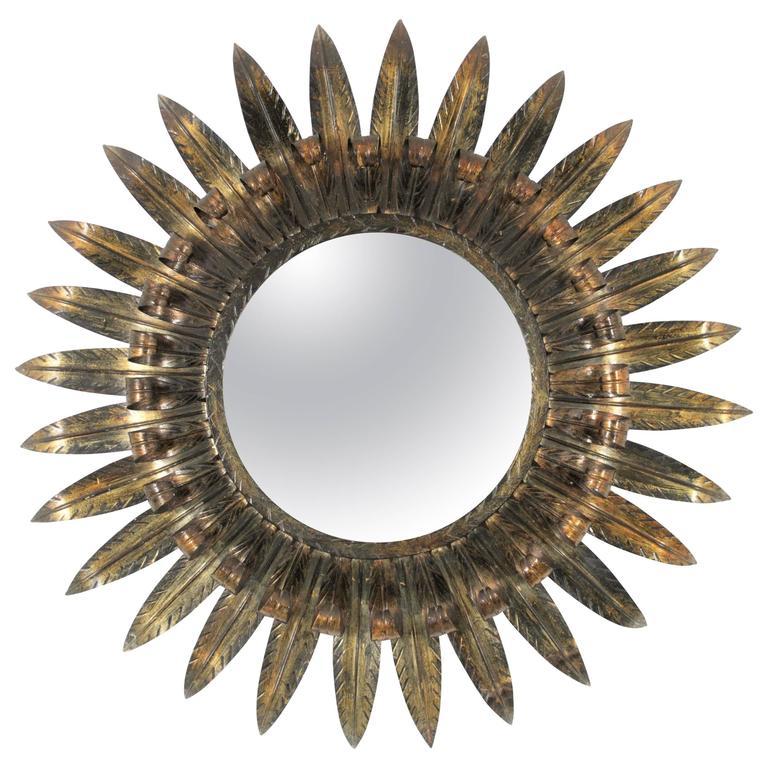 Large Spanish Double Layered Eyelash Iron Sunburst Mirror