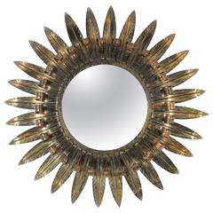 Large Spanish Double Layered Eyelash Iron Sunburst Mirror