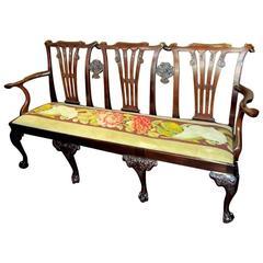Antique Irish Chippendale George II Style Mahogany Triple Chairback Settee