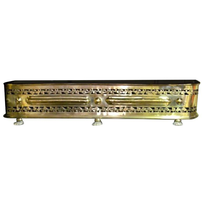 Antique English Pierced Brass George Iii Fireplace Fender For Sale