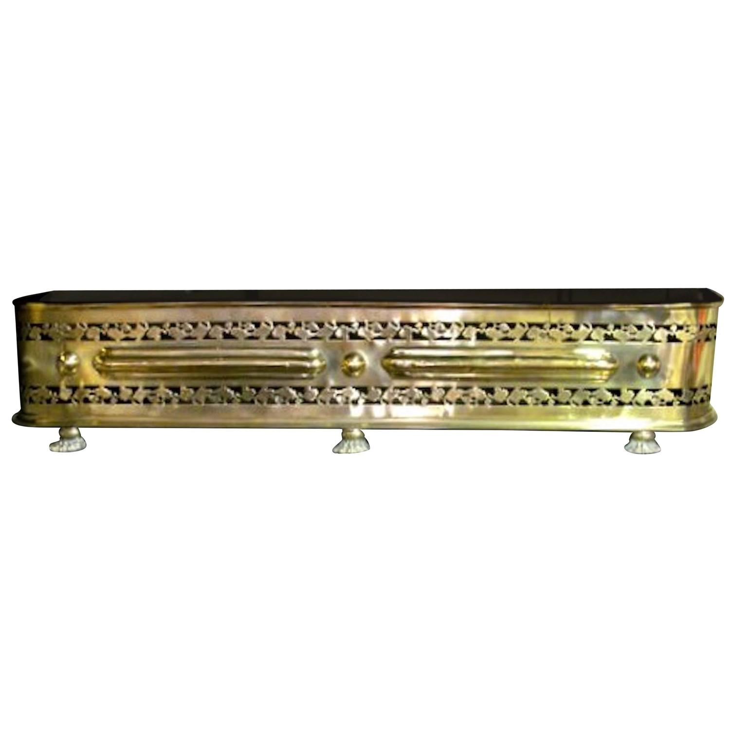 Antique English Pierced Brass George Iii Fireplace Fender For Sale At 1stdibs