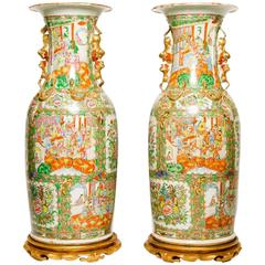Pair of Chinese Rose Medallion Palace Vases