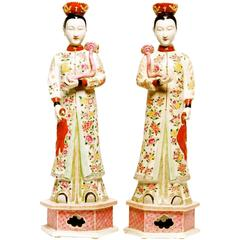 Pair of Chinese Nodding Head Famille Rose Figures