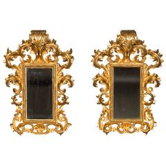 Pair of Antique Italian Baroque Giltwood Mirrors, circa 1900