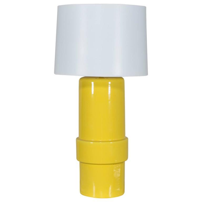Vintage 1970s Yellow Ceramic Italian Table Lamp