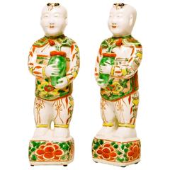 Pair of Chinese Famille Verte Porcelain Hoho Figures