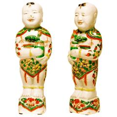 Fine Pair of Chinese Famille Verte Porcelain Hoho Figures