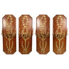 Large Set of Four 20th Century Gilt Bronze Mounted Five Light Sconces