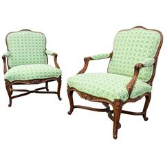 "Pair of 18th Century French Armchairs ""a La Reine"""