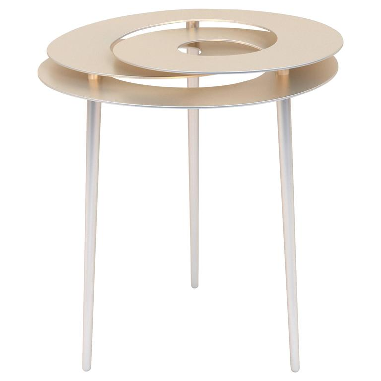 Rollercoaster small table stainless steel with titanium for Small gold side table