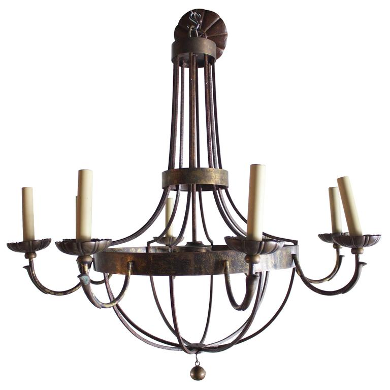 Pair of English Wrought Iron and Bronze Eight-Light Chandelier For Sale