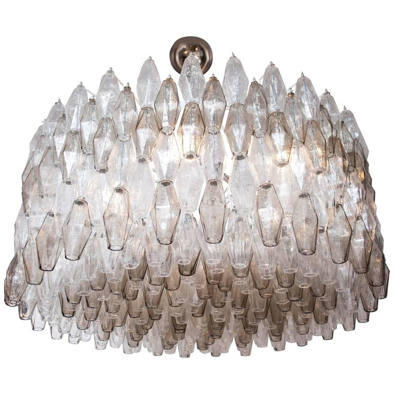 Large Venini Style Clear and Smoked Taupe Polyhedral Murano Glass Chandelier 1