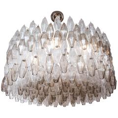 Large Venini Style Clear and Smoked Taupe Polyhedral Murano Glass Chandelier