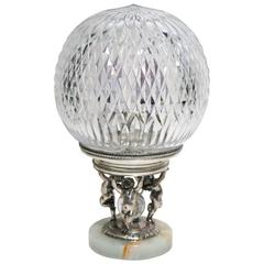 Antique Crystal and Silver Plate Figural Desk or Table Light, Signed Pairpoint