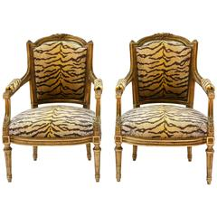 Pair of Guidnon & Fils, Early 19th Century Carved Giltwood Fauteuils