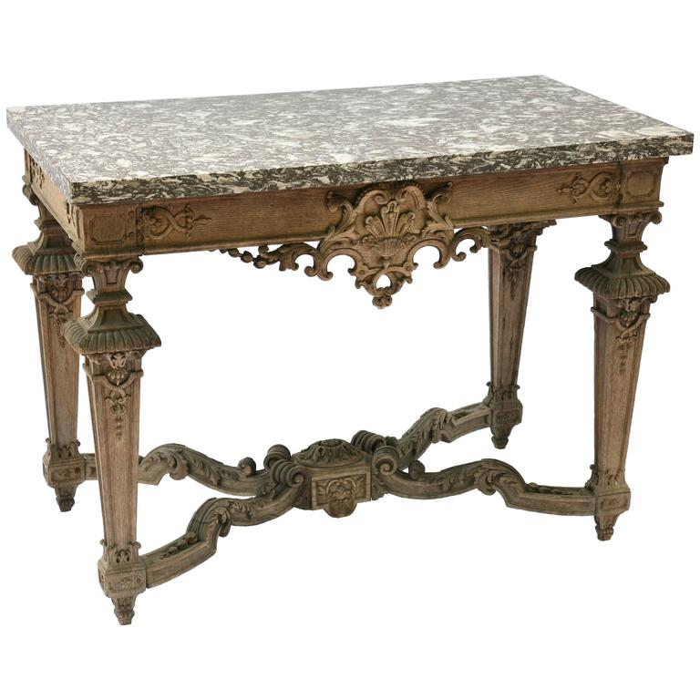Finely Carved 19th Century Bleached Oak Console Table with Marble Top