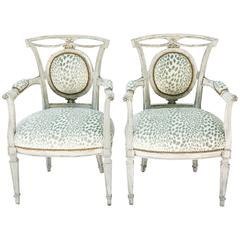 Pair of Venetian Style Painted Armchairs, Early 20th Century