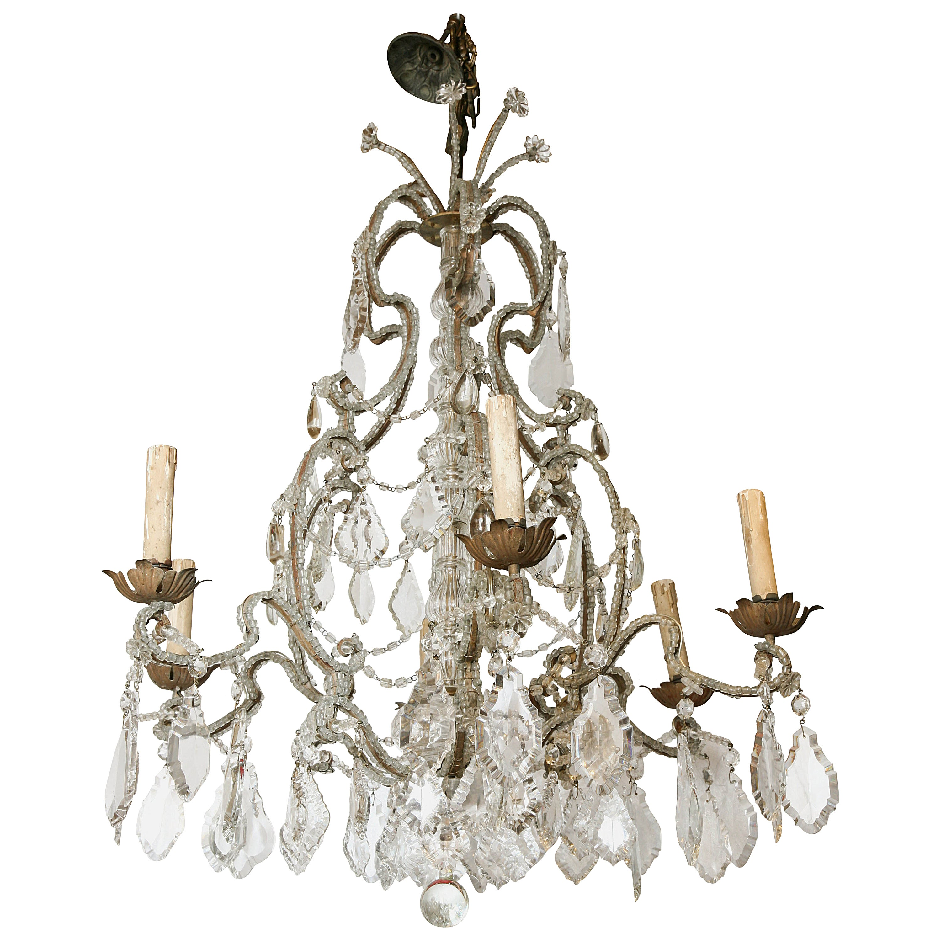 Italian Crystal Beaded Six-Light Chandelier, Early 20th Century