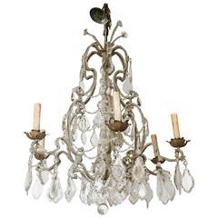 Italian Crystal Beaded Six-Light Chandelier, Early 20th Century