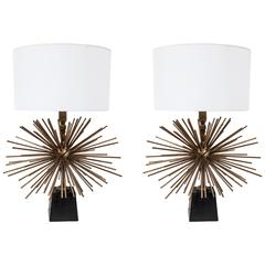 Pair of Mexican Bronze Starburst Lamps by Arturo Pani