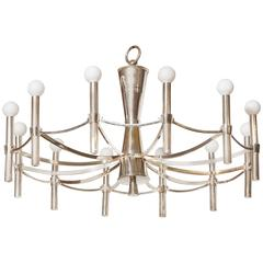 Italian Silver Plated Twelve-Light Chandelier