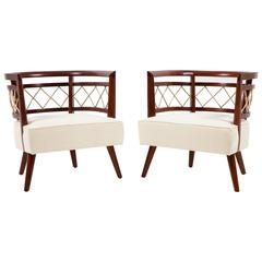 Pair of Italian Walnut Barrel Back Lounge Chairs