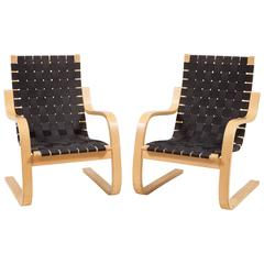 Pair of Alvar Aalto Cantilever Chairs 406 by Artek
