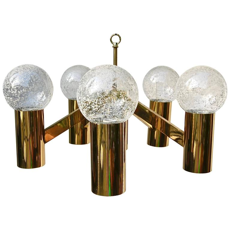 Five-Arm Brass Chandelier with Frosted Glass Ball Shades