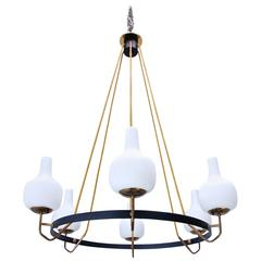 Italian Blown Glass and Brass, 1950s Ring Chandelier.