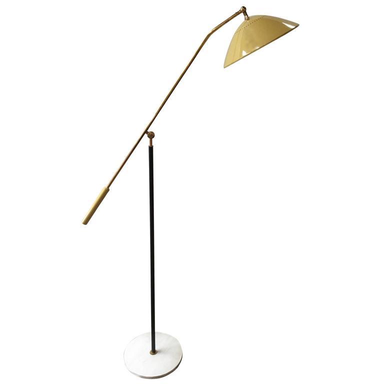 Adjustable Stilnovo Painted Enamel and Brass Italian Floor Lamp