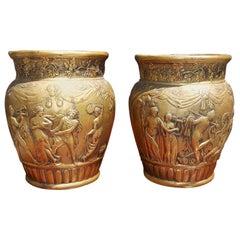 Pair of Italian Bronze Figural & Grapevine Cachepots, Circa 1830