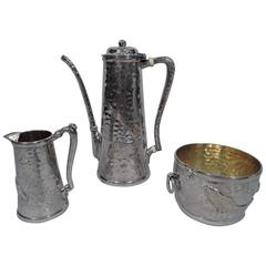 Finest Tiffany Japonesque Hand-Hammered and Applied Silver Coffee Set
