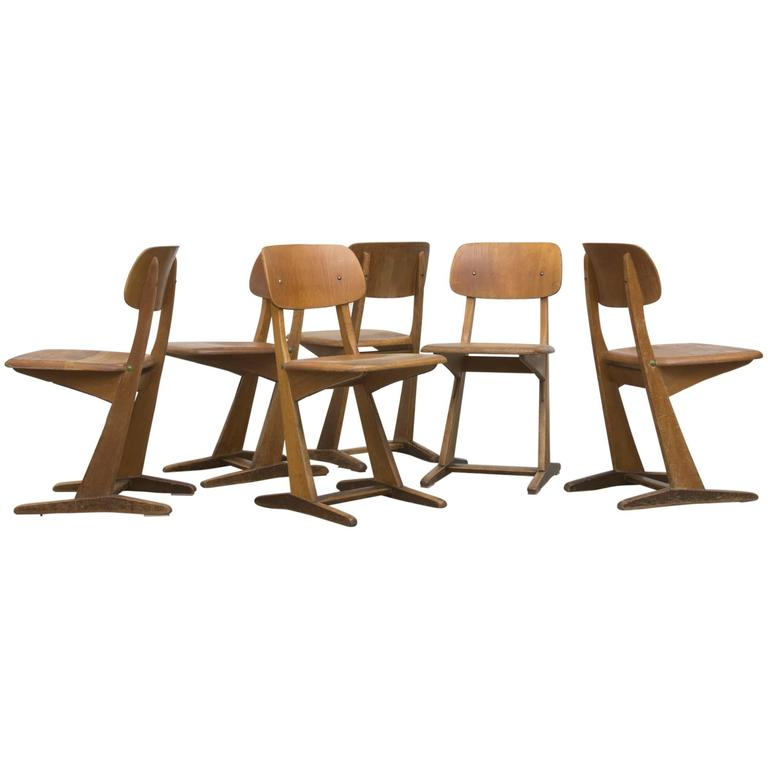 Set Of Six Kids Casala Solid Wood Chairs