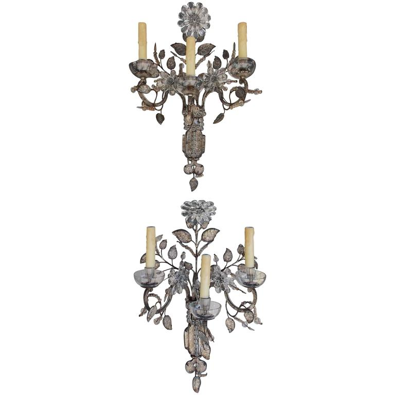 Pair of French Maison Baguès Crystal Sconces, Circa 1880