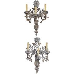 Pair of French Maison Baguès Style Crystal Sconces, Circa 1880