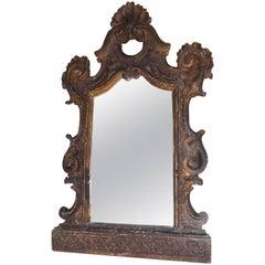 Italian Gilt Shell Cartouche Acanthus Mirror. Circa 1730
