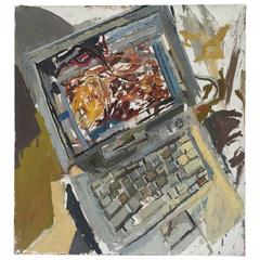 Computer with Star Cluster Painting by New York City Artist Clintel Steed, 2009