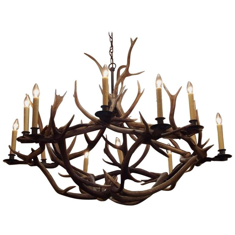 French antler and brass bobeche hanging chandelier circa 1870 at french antler brass bobeche hanging chandelier circa 1870 for sale aloadofball Images
