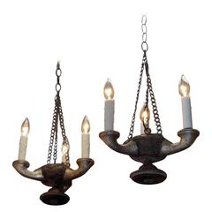 Pair of Italian Carved Wood & Silver Gilt Hanging Chandeliers, Circa 1850