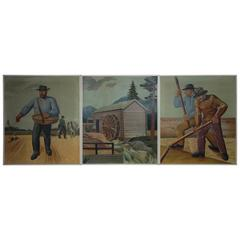 Set of Three Farming Paintings, Oil on Canvas from a Farming Museum in Sweden
