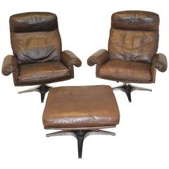 Vintage De Sede DS 31 Highback Swivel Lounge Club Chairs with Ottoman